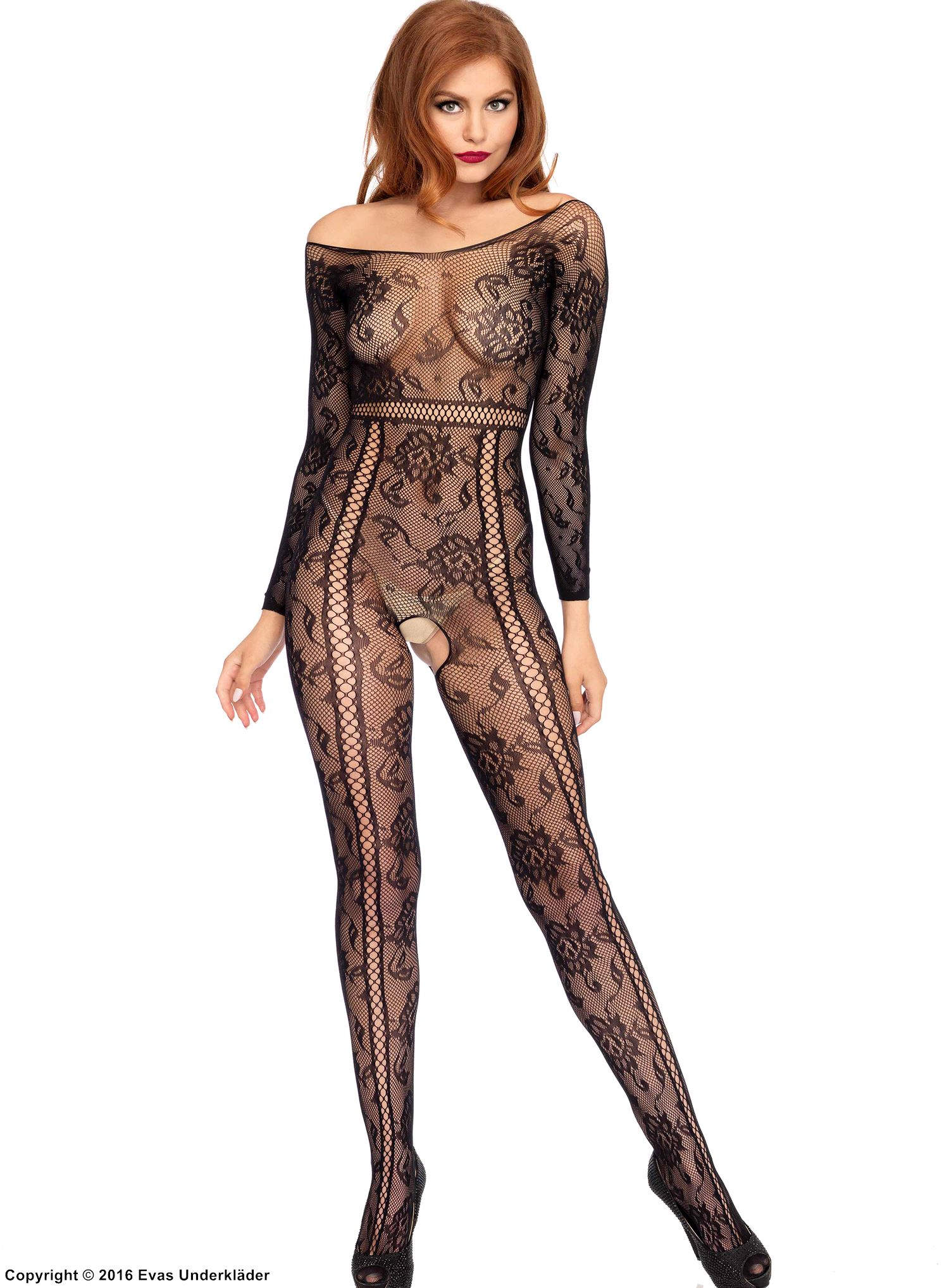 Sexy bodystocking, net, open crotch, off shoulder, flowers